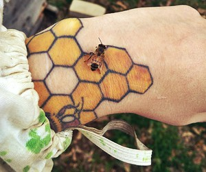 bee, tattoo, and yellow image