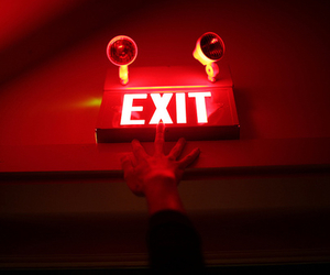 red, exit, and neon image