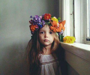 girl, flowers, and little girl image
