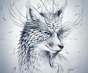 drawing, art, and fox image