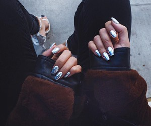 girl, nails, and black image