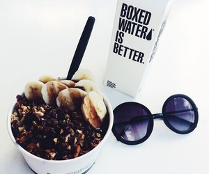 sunglasses, food, and boxed water image