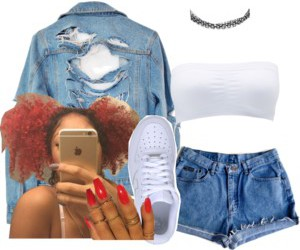 jean jacket, outfit, and Polyvore image