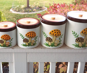 retro kitchen, vintage canisters, and kitchen canister set image