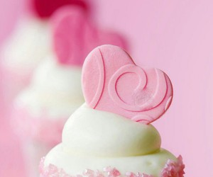 cupcakes, pink, and heart image