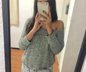 brunette, girl, and grey image