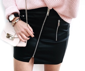 fashion, leather, and skirt image