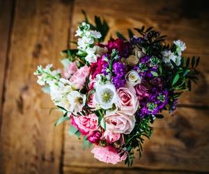 couple, wedding, and flowers image