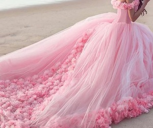 pink, dress, and beach image