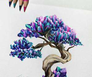 art, tree, and crystals image