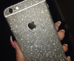 iphone, glitter, and nails image