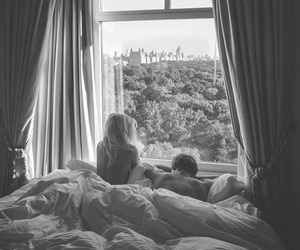 couple, bed, and black and white image