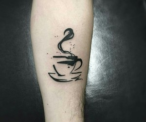 inked, tattoo, and coffee image