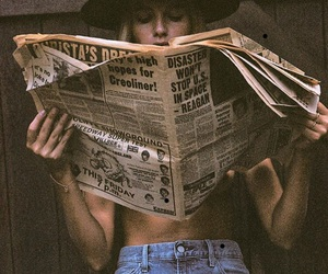 girl, newspaper, and hat image