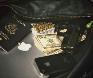 money, gun, and iphone image
