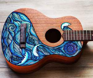 guitar, blue, and art image
