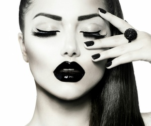makeup, black and white, and black image