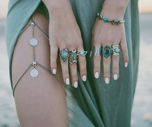 accessories, dress, and green image