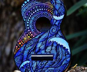 blue, guitar, and music image
