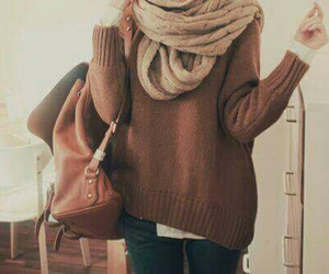 fashion, sweater, and scarf image