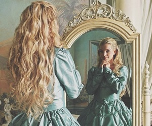 dress, mirror, and blonde image