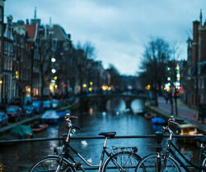 bike, amsterdam, and city image