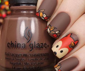 nails, autumn, and fox image