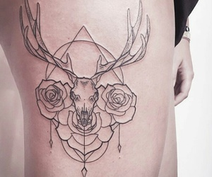tattoo, animal, and flowers image