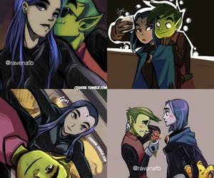 teen titans, beast boy, and ravena image