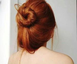 hair, redhead, and bun image