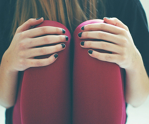 girl, nails, and red image