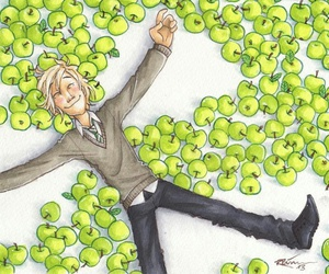 draco malfoy, apple, and harry potter image