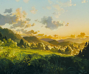 green, hills, and painting image