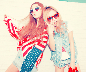 girl, friends, and usa image