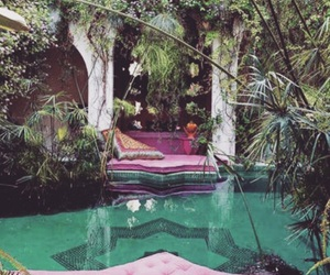 pool, pink, and garden image