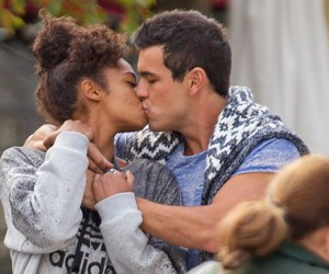 cute couple, interracial, and kiss image