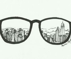 drawing, city, and glasses image