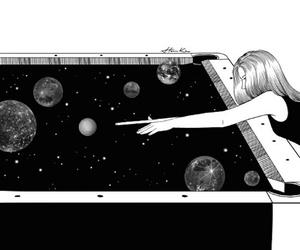 girl, planet, and art image