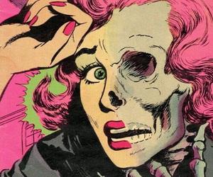 comic, skull, and woman image