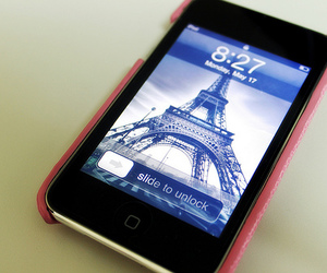 iphone, paris, and pink image