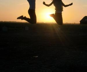 jump, friends, and sun image