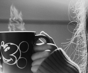 mickey, coffee, and cup image
