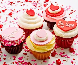 cupcakes, pink, and red image