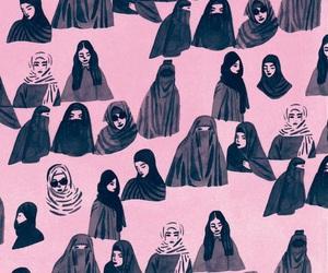 hijab, art drawing, and I Love You image