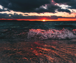 ocean, sunset, and nature image