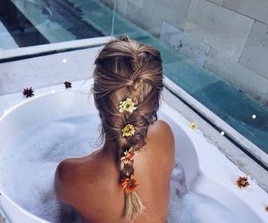 bath, blonde, and cool image