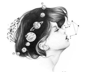 girl, art, and planet image