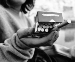 cigarette, smoke, and black and white image