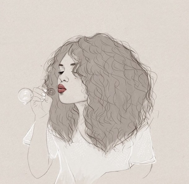Aesthetic Bubbles Crazy Hair Curly Hair Drawing