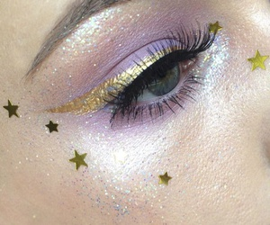 makeup, stars, and glitter image